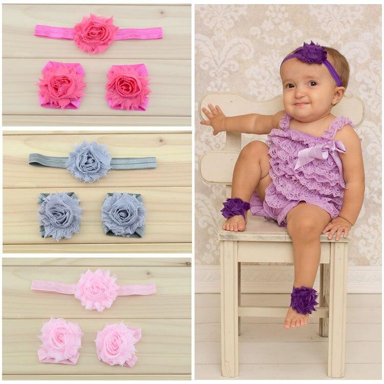 Baby Headband Shabby Chic Flowers Headbands Baby Barefoot Sandals And Headbands Set Newborn Shoes Children Girl Hair Accessories
