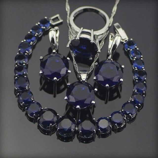 Bridal Blue Zirconia Wedding Jewelry Sets Silver 925 Jewelry With Necklace Brace
