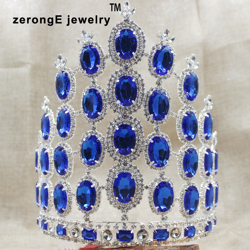 zerongE jewelry7.8inch Gorgeous Miss Pageant Large Tiara Crown royal blue Rhinestones masquerade Headband Hair Jewelry crown