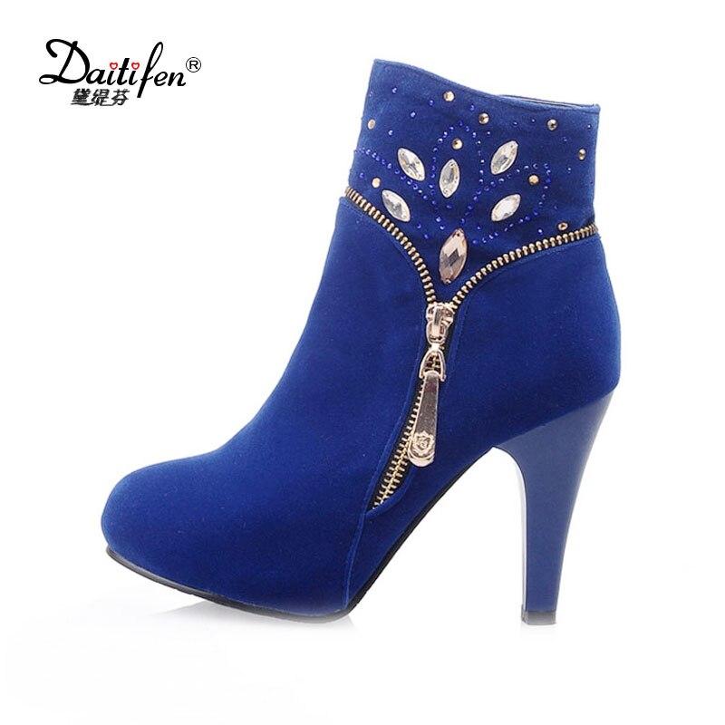 Zipper Bout Daitifen Chaud Talon Mode D'hiver Rond De red Femmes Cristal Chaussures Moto Bottes Cheville blue Spike Solide Black 5pvzrqpw