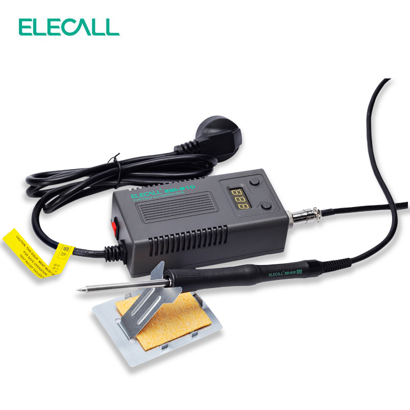 ELECALL Portable Digital Thermostat Soldering Station Adjustable Thermoelectric Iron anti-static Iron FM-910 a bf 203h 220v 90w soldering station digital display soldering iron station diy auto sleep high frequency iron thermostat