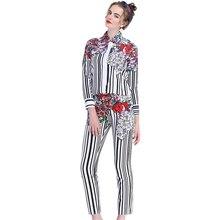 2017 Fashion Women Lady Summer Casual Twin Set Floral Printed Blouse Long Trousers Slim Plus Size XXXL 2 Pieces Pants Set Suits