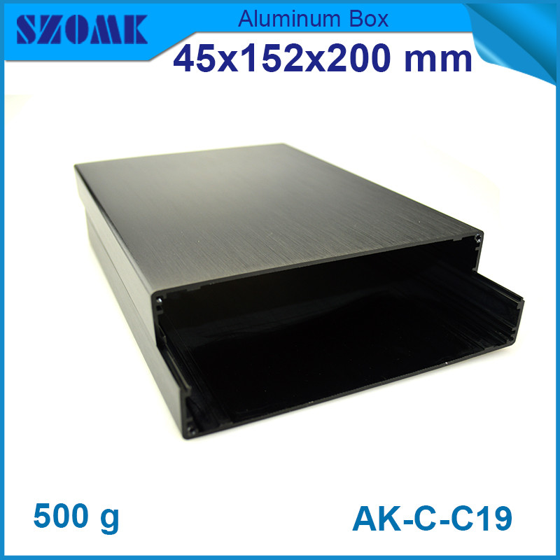 10pcs/lot black color brushed aluminium enclosure case for electronics device anodizing 45*152*200mm цена
