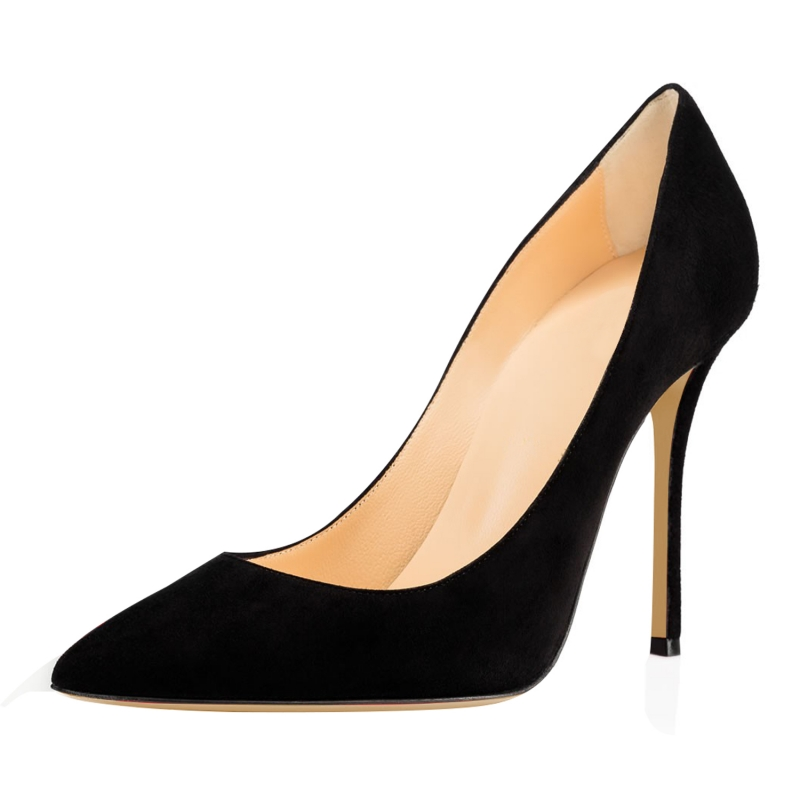 2018 New Fashion Thin Heel Women Black Pumps High Heels Pointed Toe Shoes Woman Cow Suede Leather Shoes SR-A0020 plardin new women pumps t tied high heels thin heel pointed toe shoes for women summer casual sweet woman shoes fashion shoes