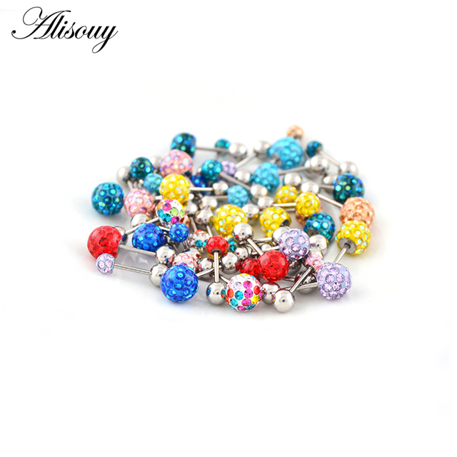 Alisouy 2pcs/lot 3/4/5/6mm 316L Stainless Steel Epoxy Crystal Threaded Ball Body Piercing Jewelry 20GLip Labret Eyebrow Ear Ring 3