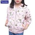 Queda da menina Pequena Flor Meninas Jaqueta Curta Moda Lazer Outwear Médio Crianças em Idade Nova Moda O-pescoço Manga Longa Roupas