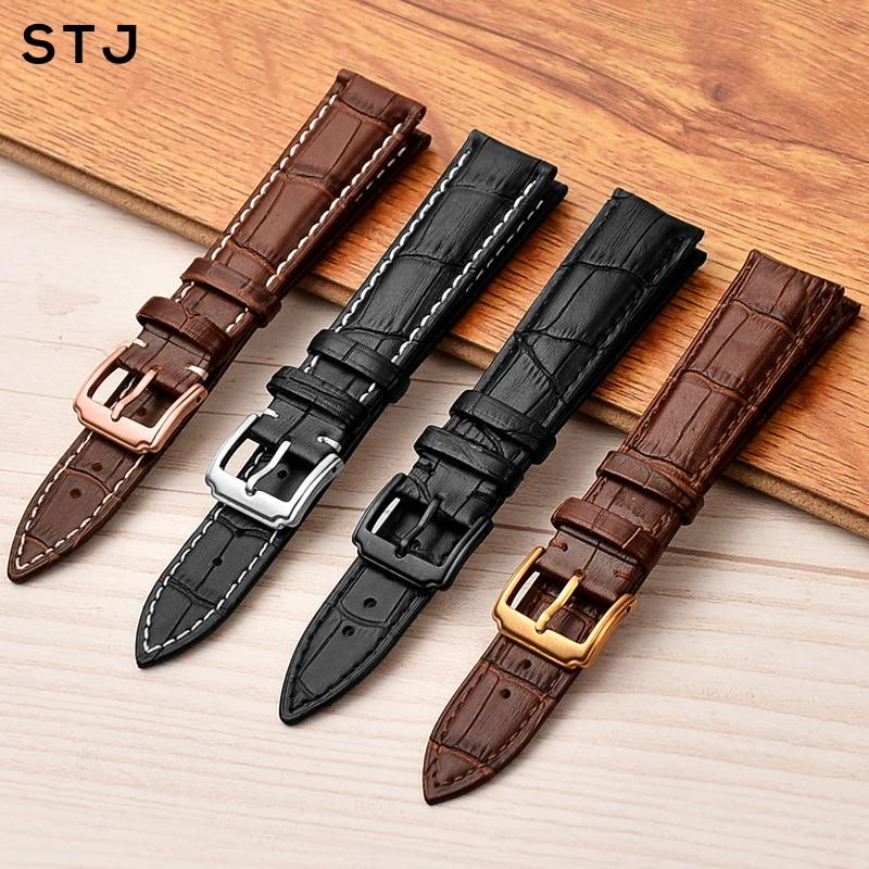 STJ Calfskin Leather Watchband 18mm 19mm 20mm 21mm 22mm 24mm Women Men Strap For Tissot Seiko Watch Band Accessories Wristband