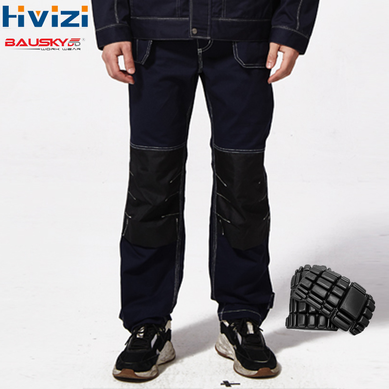 Mens Safety Work Pants Overalls Men Workwear Trousers Coveralls Cotton Muliti Pockets Clothes Wear-resisting Knee Pads B109