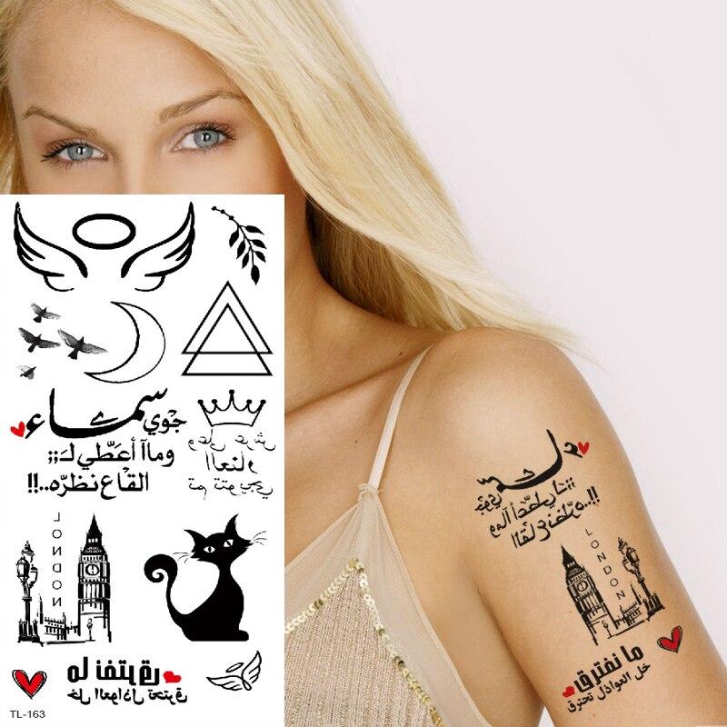 Temporary Tattoos Waterproof Minimalist Tattoo For Girls Sexy Tattoo Small On Hand Wrist Transfer Tattoo Black Cat Triangle Wing
