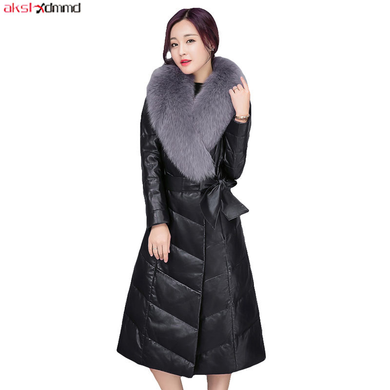 Winter Women   Leather   Jacket Vintage Sashes Office Ladies Elegant PU Coat Black Long Fur Collar Down Padded Warm Clothing AC131