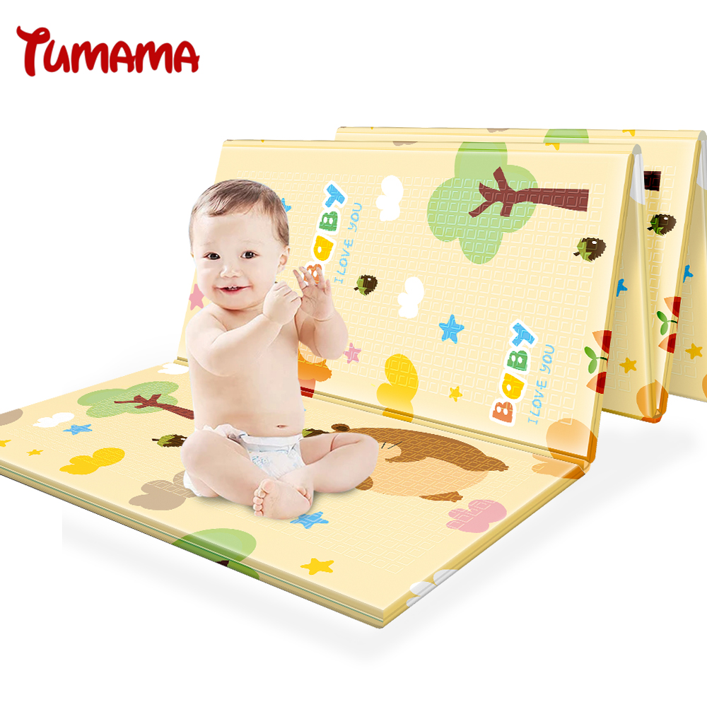 Tumama Play Mat XPE Foldable 197*150*1cm Thick Crawling Mat Double Surface Baby Carpet Rug Animal Play Mat For Children Game Pad 120cm play mat baby blanket inflant game play mats carpet child toy climb mat indoor developing rug crawling rug carpet blanket