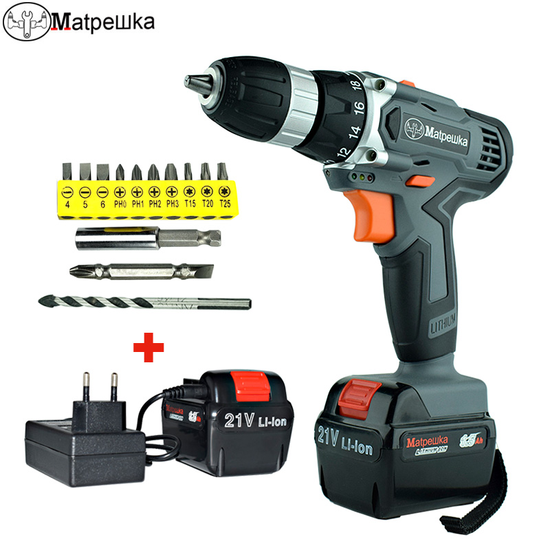 21V Hand held Rechargeable Drill Household Lithium Battery Cordless Electric Screwdriver Power Tools 2 battery +13 gifts