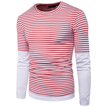 Striped T shirt Men Fashion Brand Clothing Simple Style Male Tees Tops Men Long Sleeve Casual T Shirt Homme Autumn Tops B4141