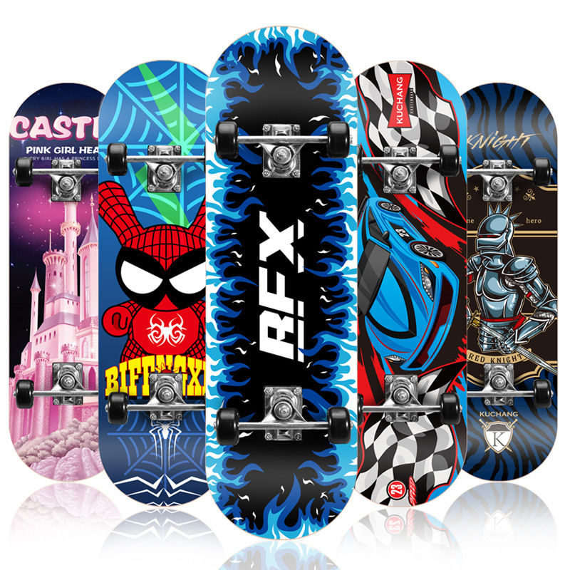 2019 New Maple 72*20cm Four-wheeled Toy Skateboard Beginner Children Double-warm Unisex Professional Scooter