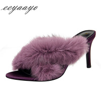 2019 New Summer Women Mules Slippers High Heel Square Toe Slip On Sexy Rabbit Fur Women Shoes Purple High Heel Outside Slippers