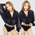 Dj ds traje dança sexy bodysuit strapless