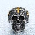 Soldado cráneo cruz de acero inoxidable anillo punk retro de la joyería nuevo estilo de precio de fábrica del anillo del cráneo para los hombres