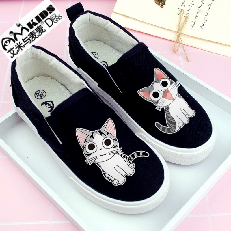 29f07221dc126 US $17.8 11% OFF|AMYMM Children's Hand painted Cartoon Cute Cat Canvas  Shoes, Boys and Girls Flat Shoes, Casual Shoes, Student Shoes YXX-in  Sneakers ...