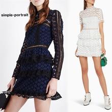 SP-Simple Elegant hollow out ruffle lace Women vintage long sleeve slim  party dress 55d23b2409c2