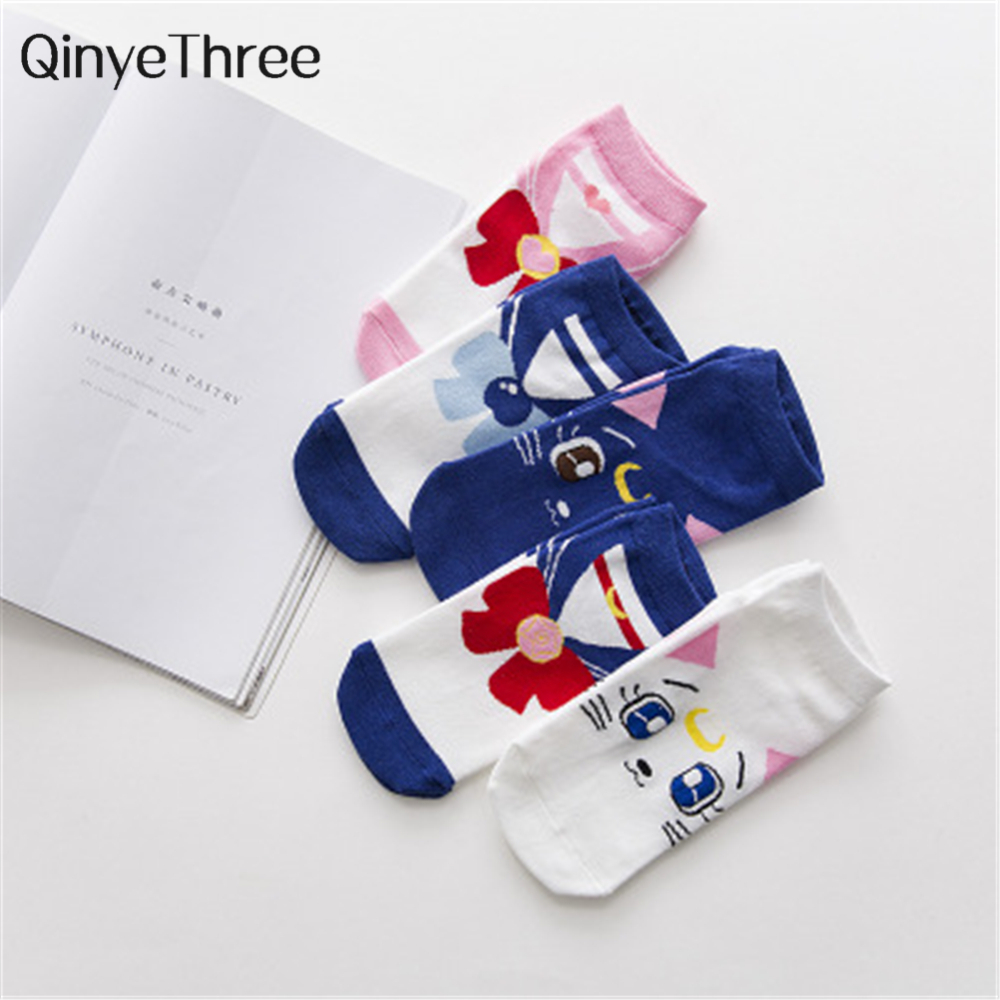 2018 new cute Cartoon   Socks   Breathable Soft Cotton   Sock   For Women Sailor Moon Ice Moon Female Girls Spring Autumn Funny Sweet So