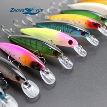 Promotion! 5PCS Super Quality 10 Colors 11cm 13.5g Hard Bait Minnow Fishing lures Bass Fresh Salt water 6#hook  Free Shipping