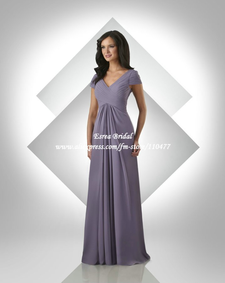 Whole V Neck Pleated Chiffon Long Purple Bridesmaid Dresses With Short Sleeve Fb090 Women Party Dress Free Shipping In From Weddings