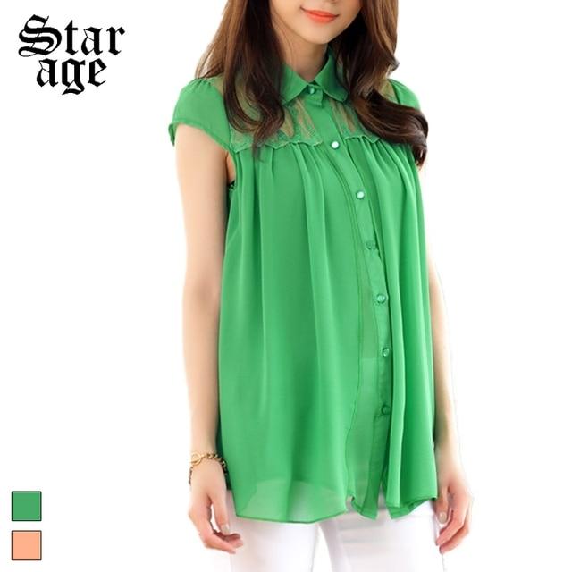 09fe46c5235e0 M-XXXL Women Lace Patchwork Chiffon Blouse Shirt Big Size Short Sleeve  Single-Breasted