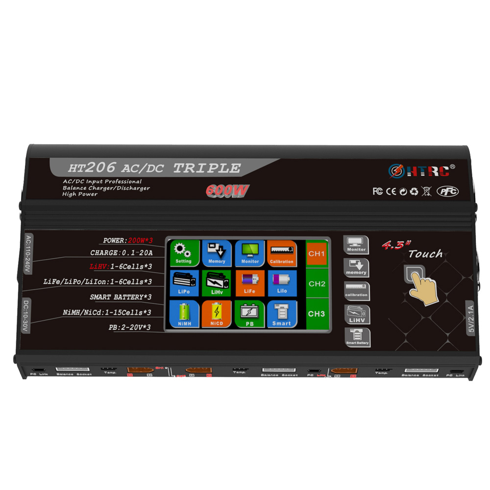 HTRC HT206 TRI AC/DC 3X200W 3X20A 4.3 Inch LCD Touch Screen Battery Balance Charger DischargerHTRC HT206 TRI AC/DC 3X200W 3X20A 4.3 Inch LCD Touch Screen Battery Balance Charger Discharger