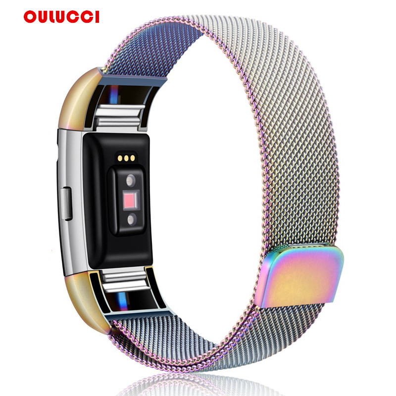 Unique Magnetic Milanese Loop Wrist strap ,Link Bracelet Stainless Steel Band Adjustable Closure for Fitbit Charge 2 watch band все цены
