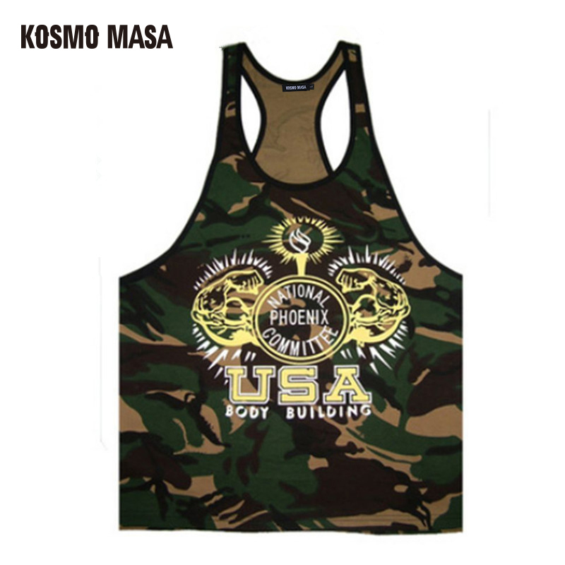 KOSMO MASA 2017 Golds Mens Fitness Muscle   Tank     Tops   Bodybuilding Singlet Camouflage Men's Stringer   Tank     Top   Vest MC0274