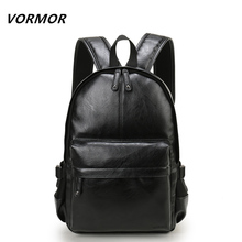 VORMOR Brand Preppy Style Leather School Backpack Bag For College Simple Design Men Casual Daypacks mochila male New