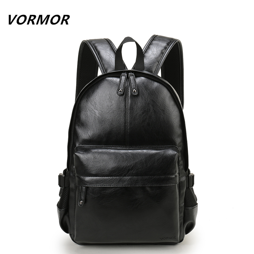 VORMOR Brand Preppy Style <font><b>Leather</b></font> School <font><b>Backpack</b></font> Bag For College Simple Design Men Casual Daypacks mochila male New