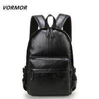 VORMOR New 2017 Famous Brand Men Backpack Computer Laptop PU Leather Mochila Waterproof School Bags For