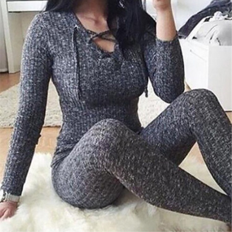 Sexy Cross Bandage V-Neck Knitted Women   Jumpsuit   Autumn Grey Slim Bodycon   Jumpsuit   Romper Warm Sweaters Top