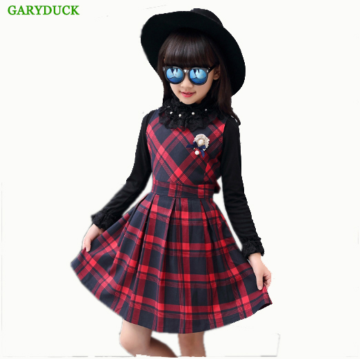 GARYDUCK Kids Clothes 2017 Autumn/Winter New Sleeveless vest dress Girls Dresses Fashion Girls Clothes Lattice Princess Dress sleeveless 2017 new autumn fall winter girls princess dress brand vest dress solid cute children dress chidlren clothing 2 8y