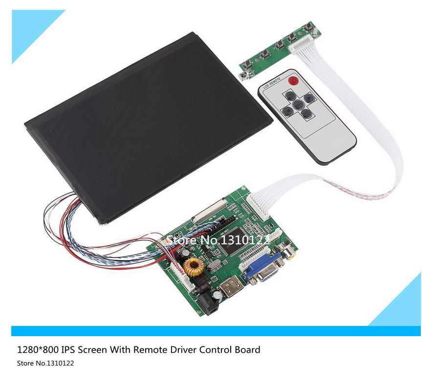 skylarpu 7 Inch High Resolution 1280*800 IPS Screen With Remote Driver Control Board 2AV HDMI VGA for Raspberry Pi Free shipping cs3310 remote preamplifier board with vfd display 4 way input hifi preamp remote control digital volume control board
