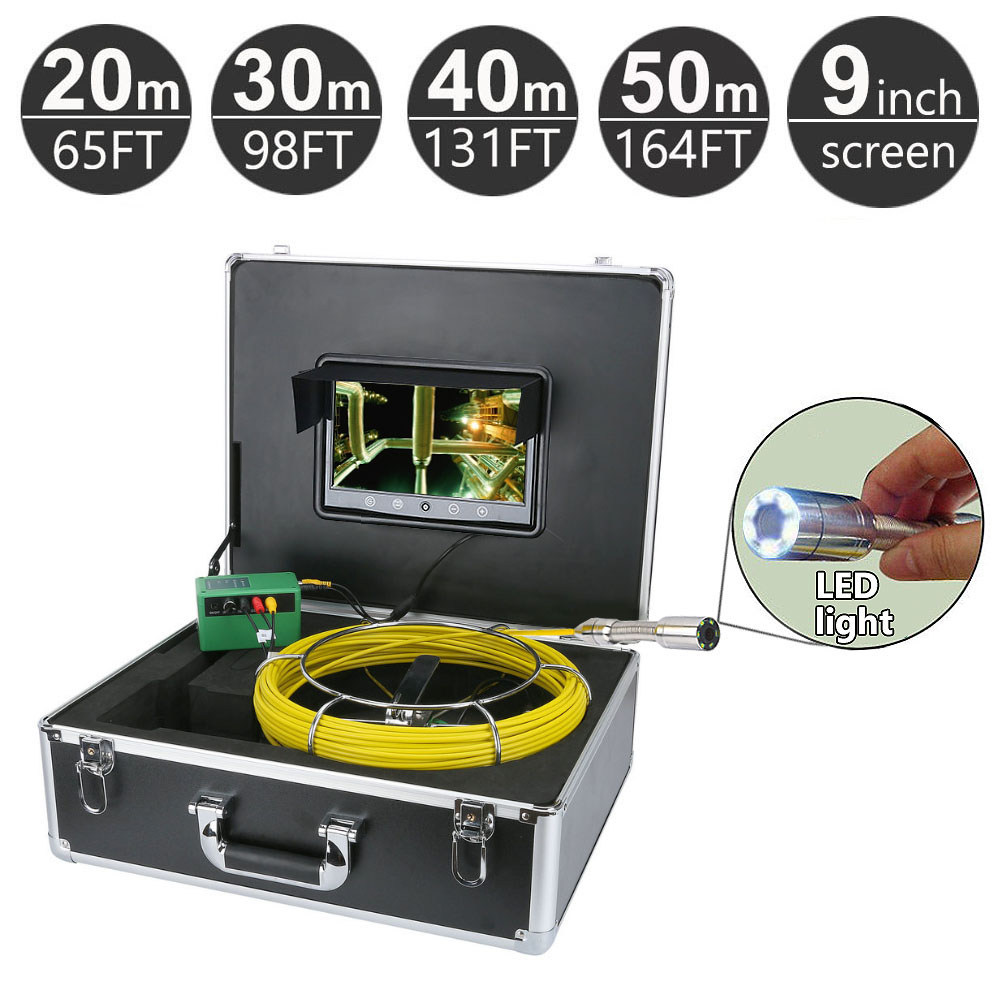 20 50M Sewer Pipe Pipeline Drain Inspection System 9 inch LCD Monitor 1000TVL Snake Drain Waterproof Pipe & Wall Video Camera