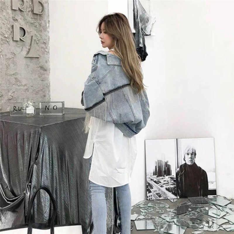 ผู้หญิงแขนค้างคาวพู่สั้น Burr DENIM แจ็คเก็ตสตรีแฟชั่น New boyfrieds outwear 2019 ฤดูใบไม้ร่วง Streetwear Jean Coat