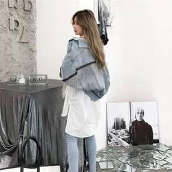 Kobiety rękaw nietoperz pomponem krótkie luźne zadziorów kurtka dżinsowa kobiet moda nowy boyfrieds znosić 2019 jesień Streetwear jean płaszcz 6