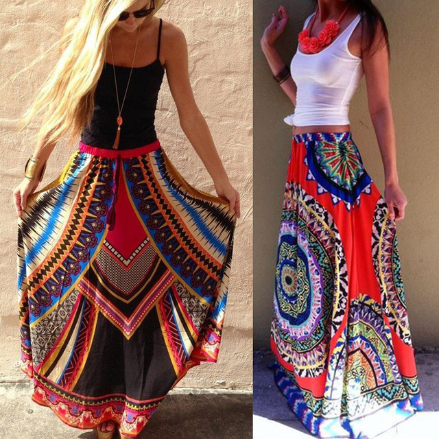 5fc6d3ab31dd6 Women Indian Saree Rushed Real Shopping Pakistan Women Clothing 2016 Ethnic  Thailand Wind Printing Large Colored Skirt Length -in India & Pakistan ...
