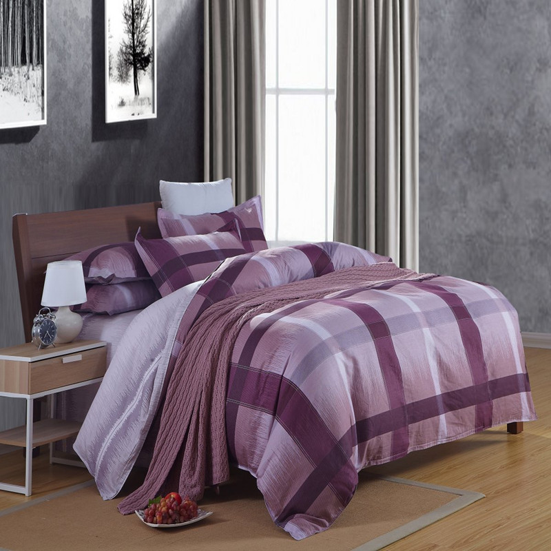 Modern Plaid Purple Blue Comforter Duvet Cover Set 4pcs 100 Cotton Anti Allergic Bedding For Single And Double Size Bed In Sets From Home