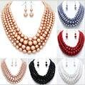 Novo estilo chegadas N14 moda feminina colorido pérolas de imitação colar projeto original Layers acrílico contas correntes jóias 6 cores