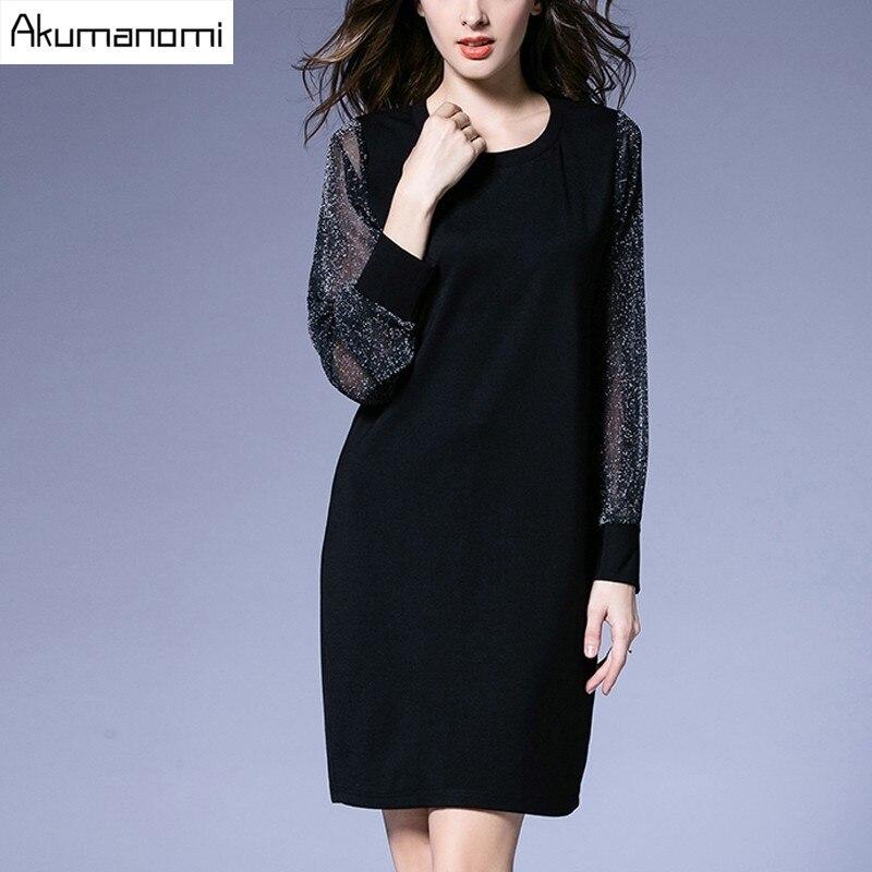 Autumn Winter Dress Translucent Full Sleeve Ribbed Cuffs Patchwork Knee Length Spring Dress New Plus Size 5XL 4XL 3XL 2XL XL L