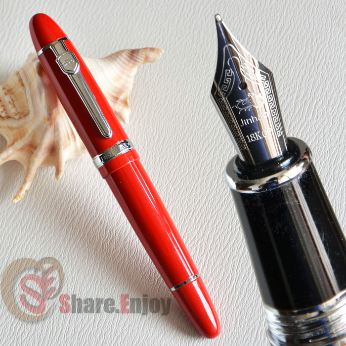 NOBLE JINHAO 159 SILVER SAND 18KGP 0.7MM BROAD NIB FOUNTAIN PEN THICK BUSINESS
