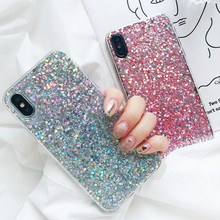 Girls Soft Phone Case Cover For iPhone 8 7 Plus XS MAX New Bling Glitter Sparkle Jewelled Fitted