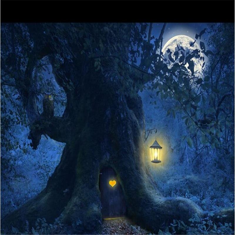 Купить с кэшбэком beibehang Custom wallpaper photos HD fantasy beautiful forest tree moon night tree scenery Halloween background wall painting