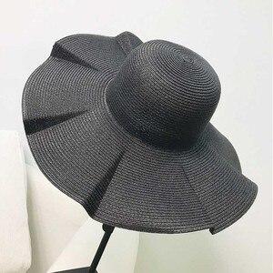 Image 4 - Women Solid Black white Beach Sun Hat Wide brim Paper Straw Hat UV UPF50 Travel Foldable Brim Summer UV Hat Kentucky derby hat