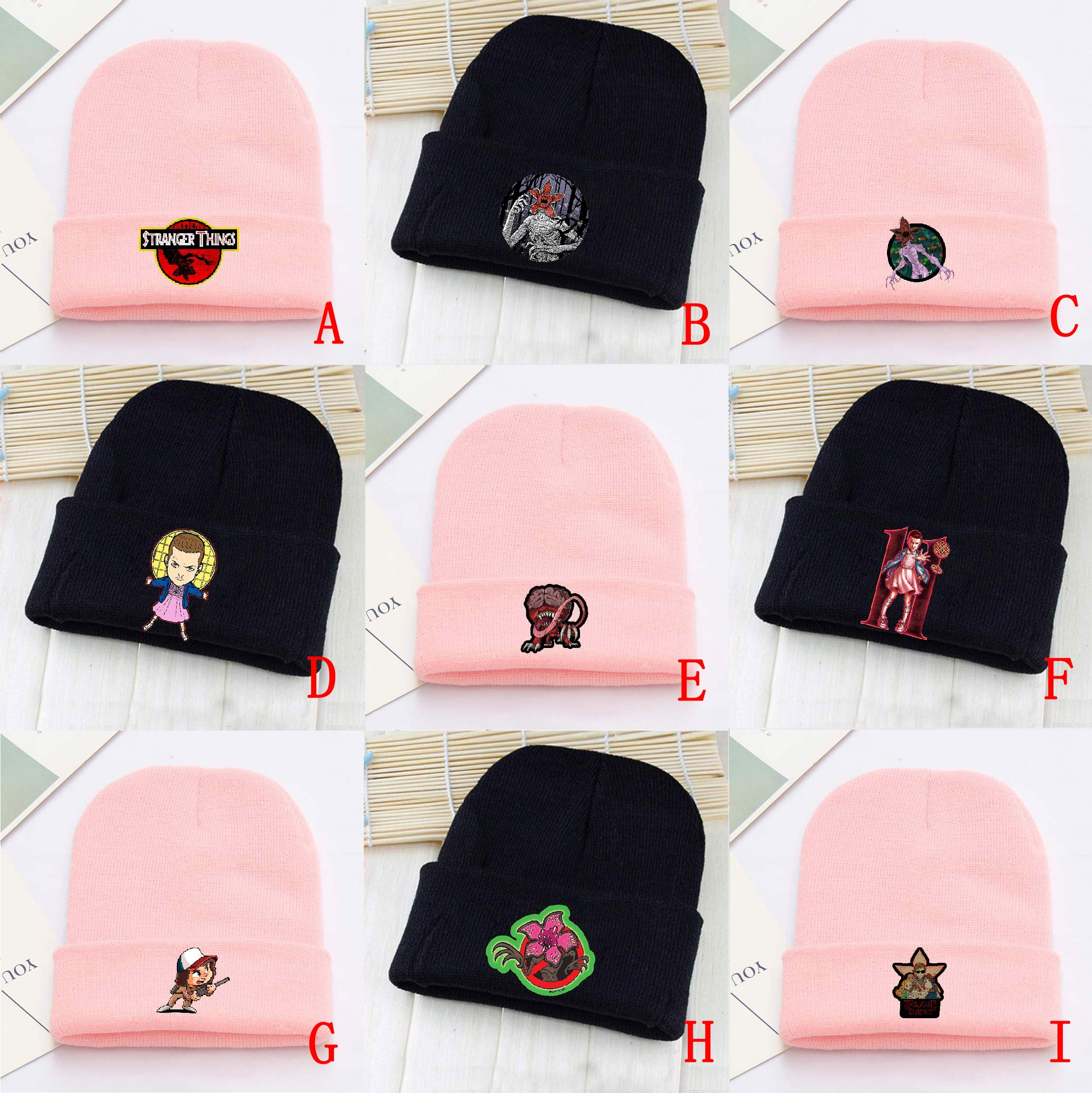 OHCOMICS Hot Stranger Things Pink Black Cotton Hat Knitted Hat Cap Hip-Hop Handsome Sleeve Cap Costume Accessory Gift