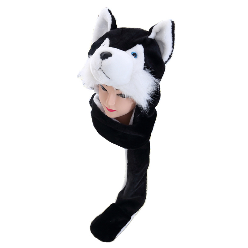 DOUBCHOW Black Wolf Cute Plush Animal Hat with Paws Gloves fs
