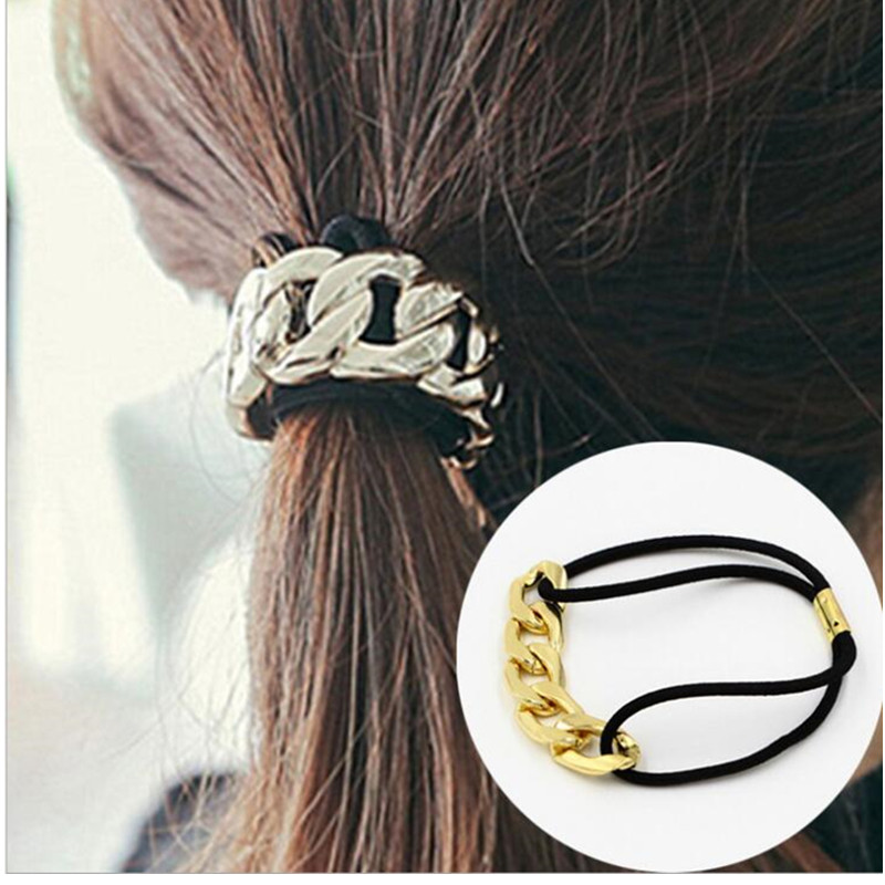 Punk Metal Gold Silver Women Elastic Hair Bands Rope Ponytail Girls Hair Ties Hair Accessories for Women acessorio para cabelo